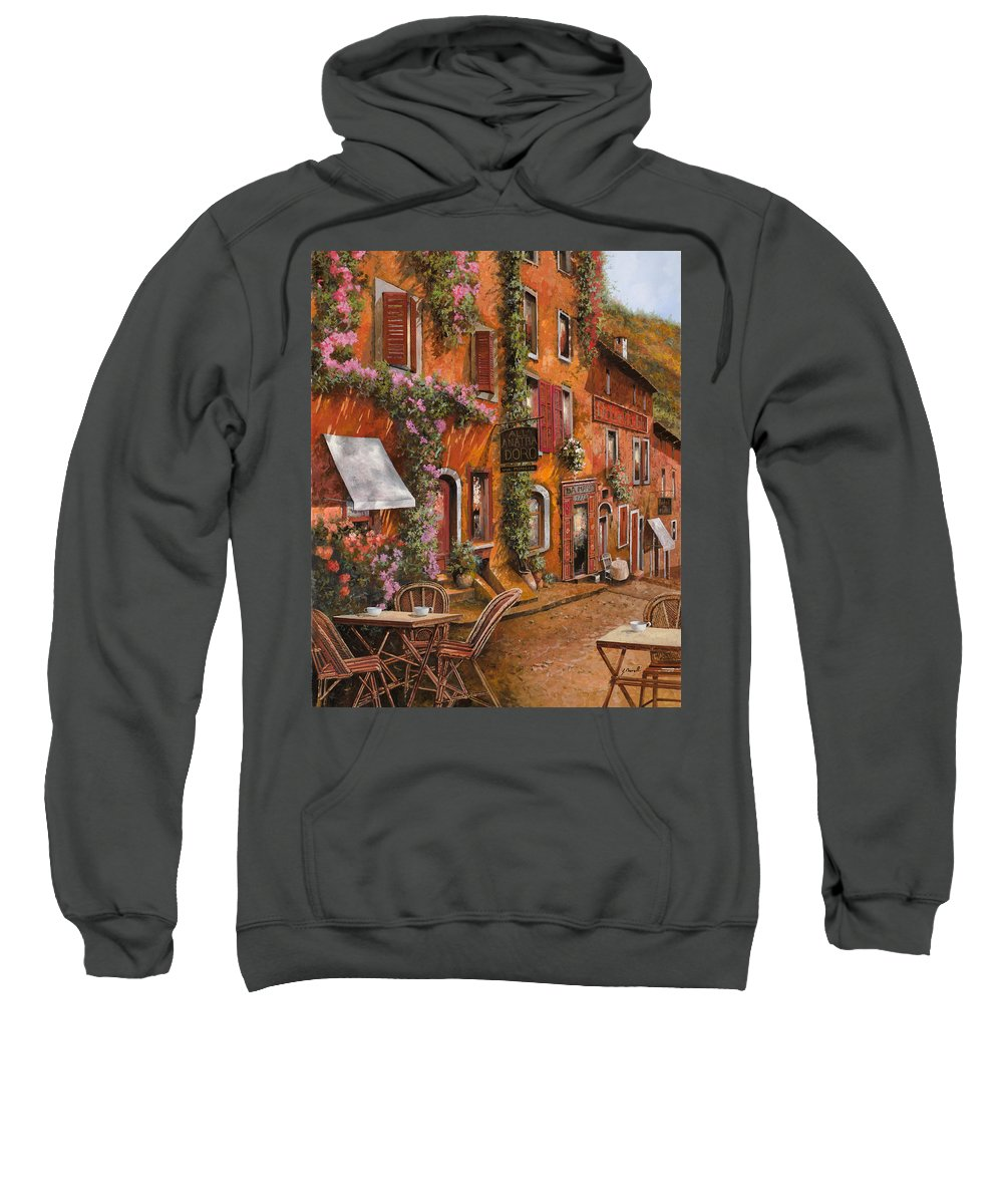 Cityscape Sweatshirt featuring the painting Il Bar Sulla Discesa by Guido Borelli