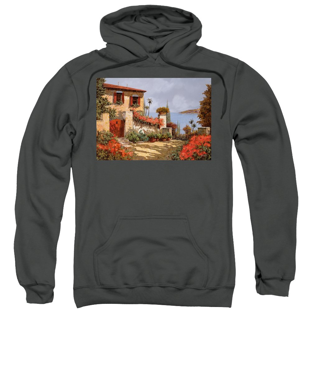Red House Sweatshirt featuring the painting Il Giardino Rosso by Guido Borelli