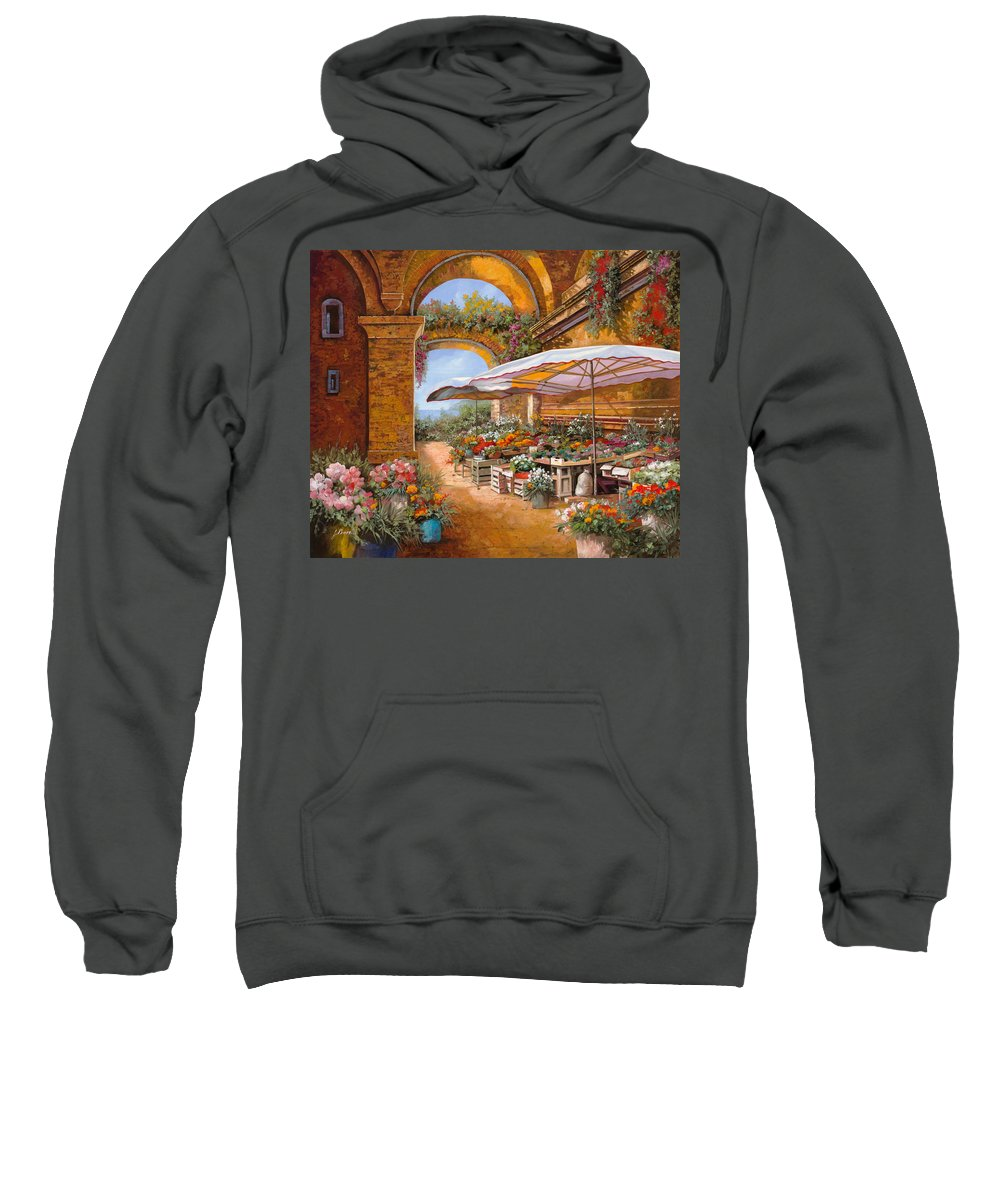 Market Sweatshirt featuring the painting Il Mercato Sotto I Portici by Guido Borelli