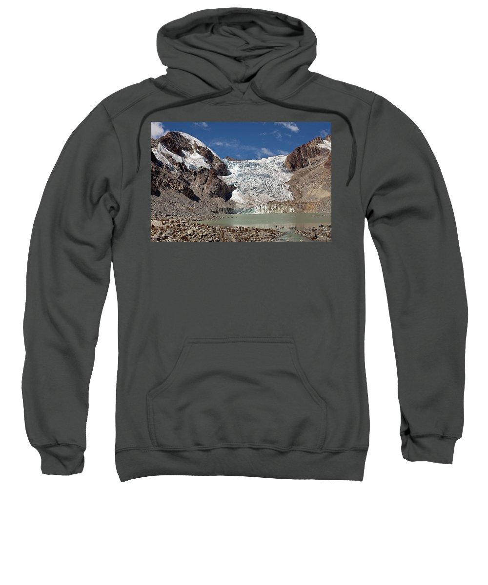 Illampu Sweatshirt featuring the photograph Illampu Glacier Lake Or Laguna Glacial by Aivar Mikko
