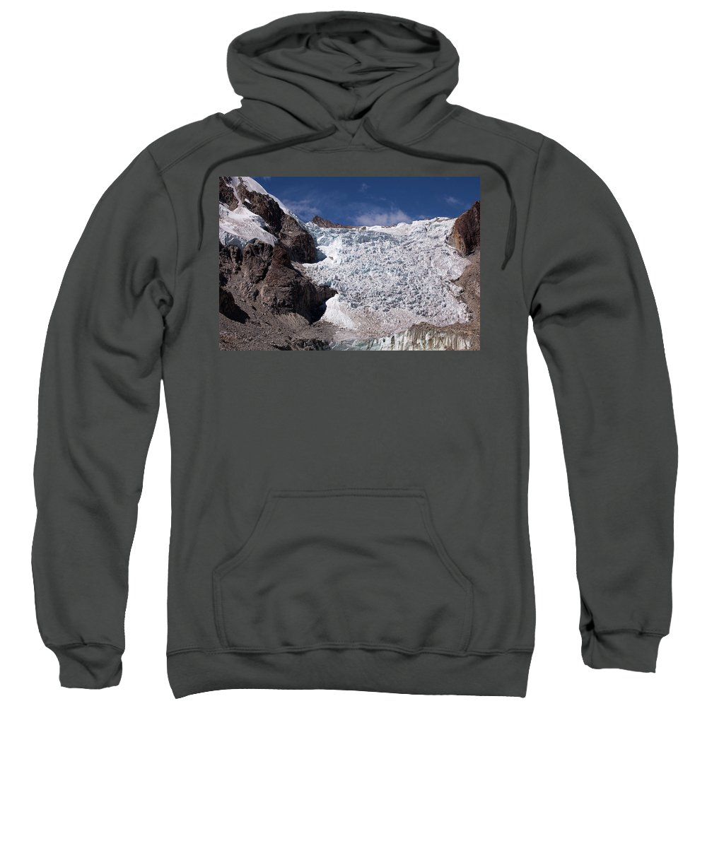 Illampu Sweatshirt featuring the photograph Illampu Glacier by Aivar Mikko