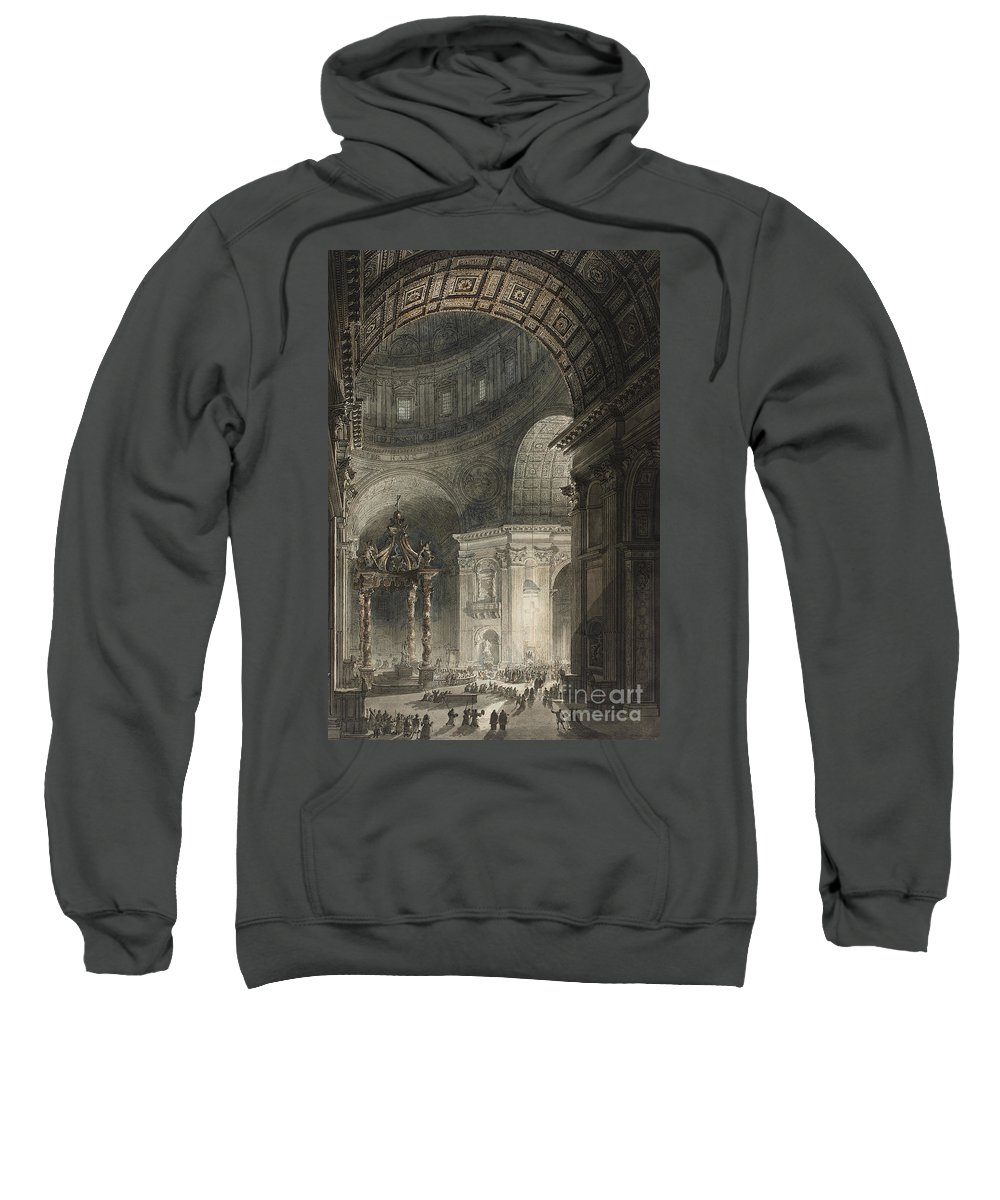 Italy Sweatshirt featuring the drawing Illumination Of The Cross In St. Peter's On Good Friday, 1787 by Giovanni Battista Piranesi