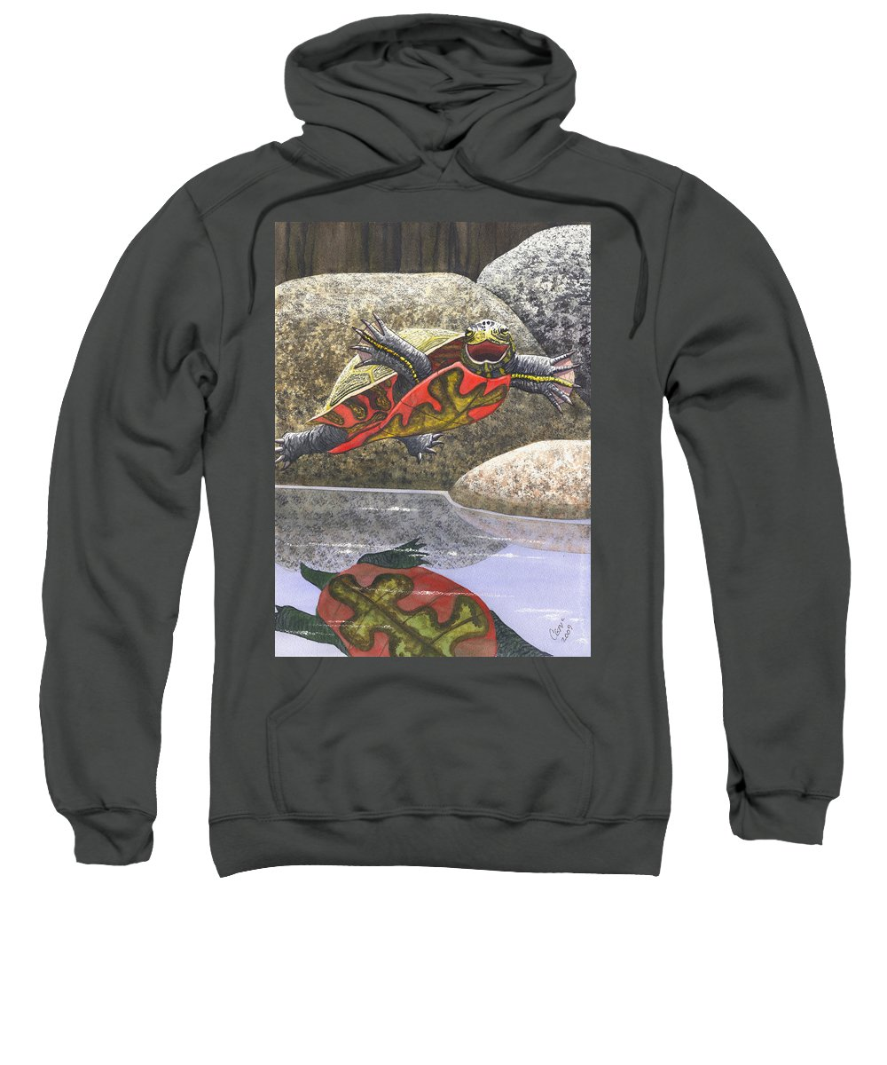 Turtle Sweatshirt featuring the painting Im Flying by Catherine G McElroy