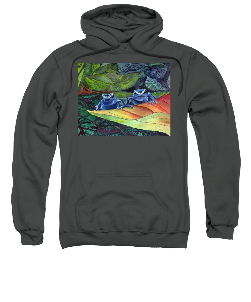 Rainforest Sweatshirt featuring the painting I'm In Love With A Big Blue Frog by CB Woodling