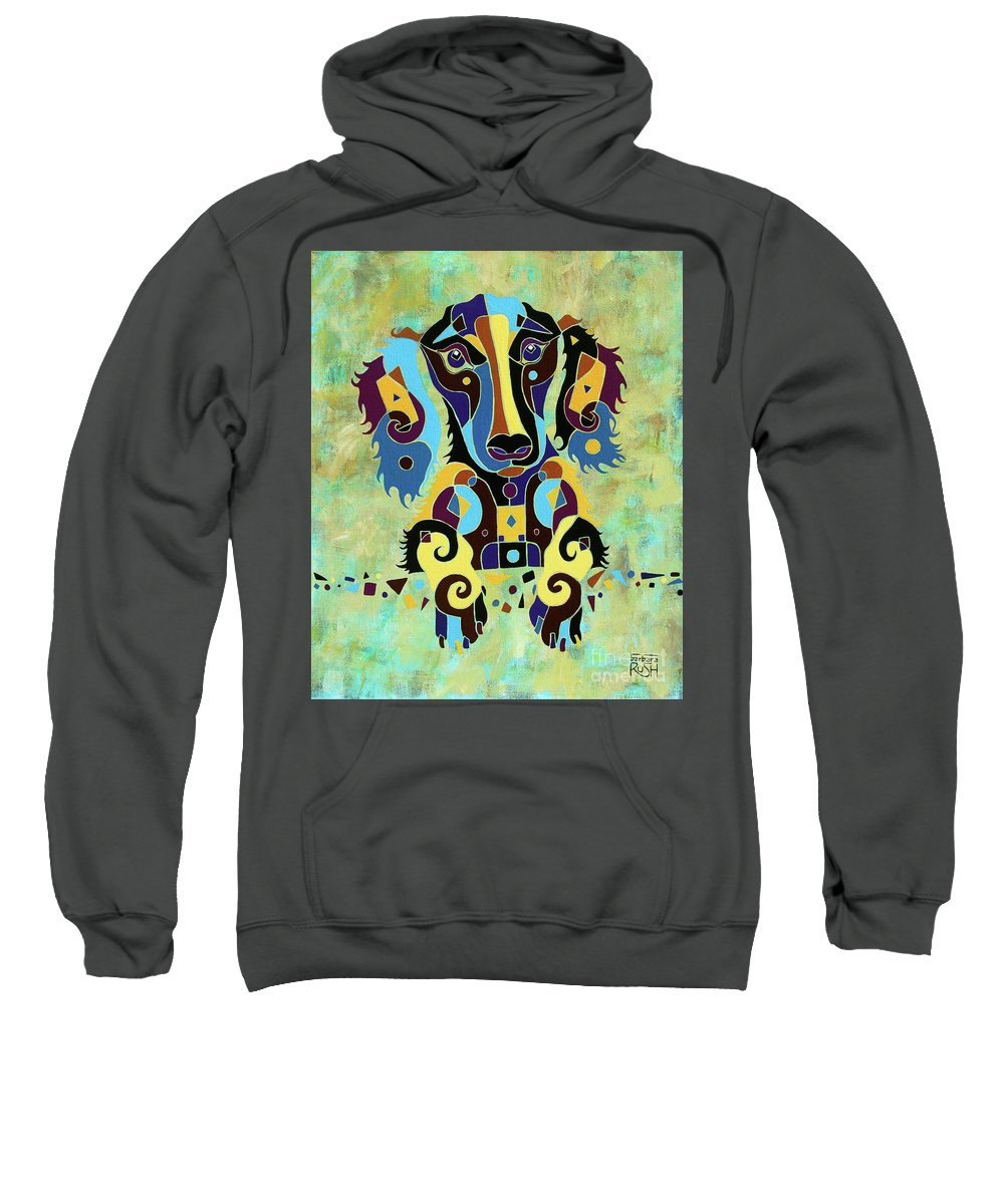 Long-haired Dachshund Art Sweatshirt featuring the painting I'm Really Puzzled by Barbara Rush