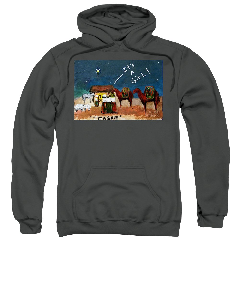 Christmas Card Sweatshirt featuring the painting Imagine by Frances Marino