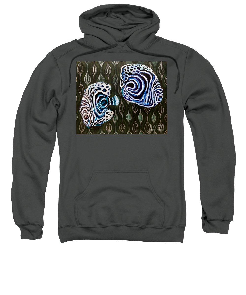 Angelfish Ocean Reef Blue White Imperator Aquarium Tank Beautiful Sweatshirt featuring the painting Imperials by Tiffany Brazell