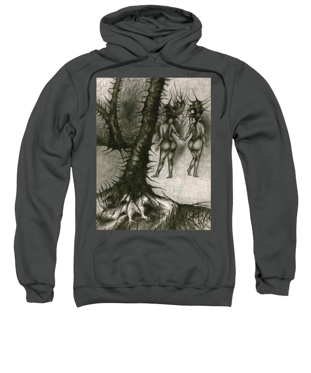 Joy Sweatshirt featuring the drawing In Concealment by Wojtek Kowalski