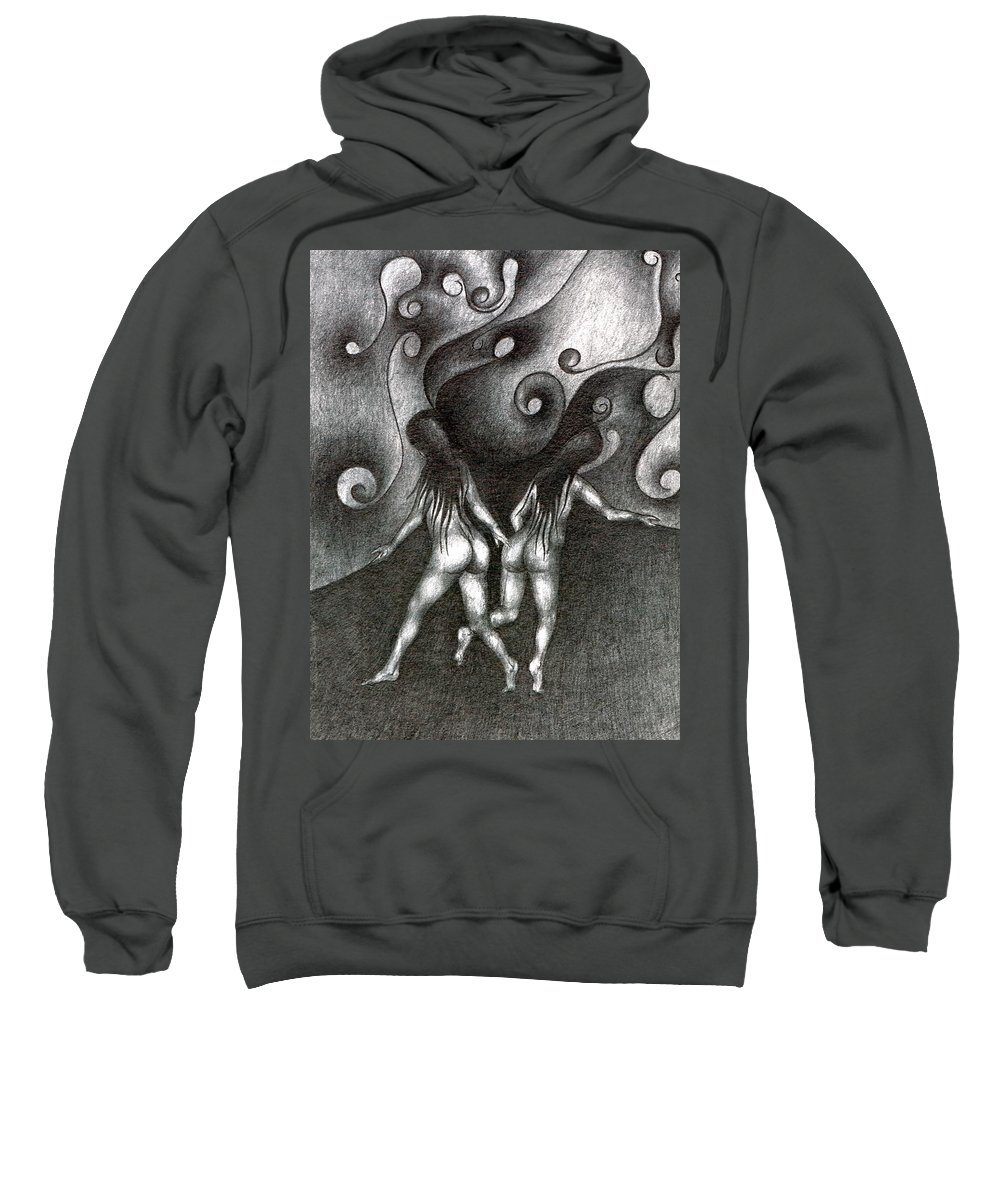 Psychedelic Sweatshirt featuring the drawing In Different Sides by Wojtek Kowalski