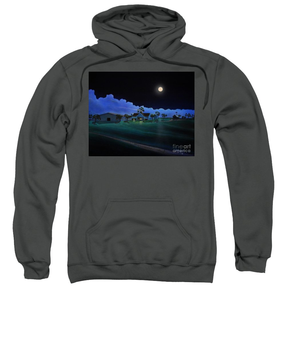 Arizona Sweatshirt featuring the painting In For The Night At Empire Ranch by Jerry Bokowski