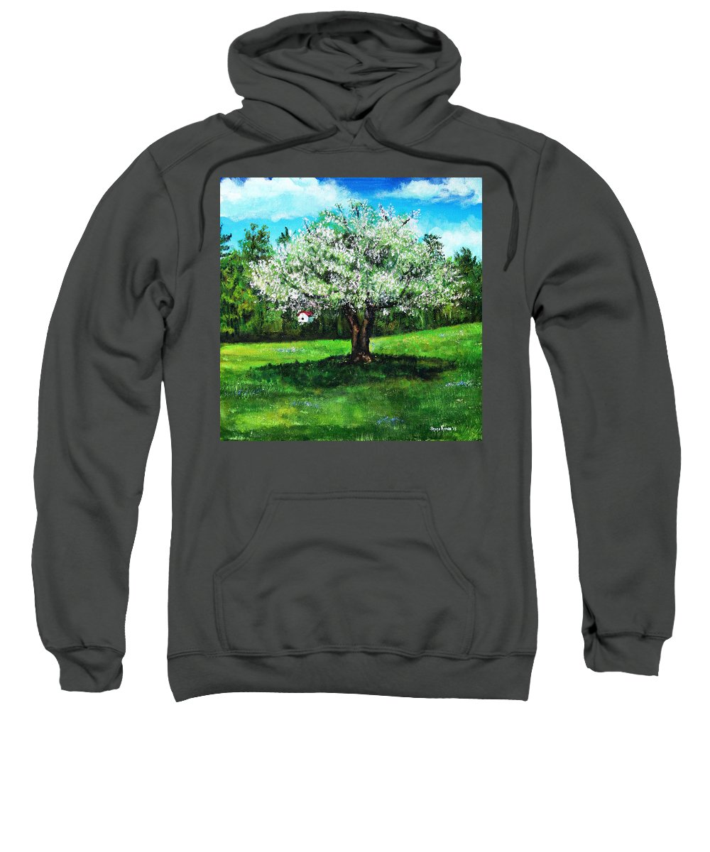 Apple Blossom Sweatshirt featuring the painting In Full Bloom by Shana Rowe Jackson