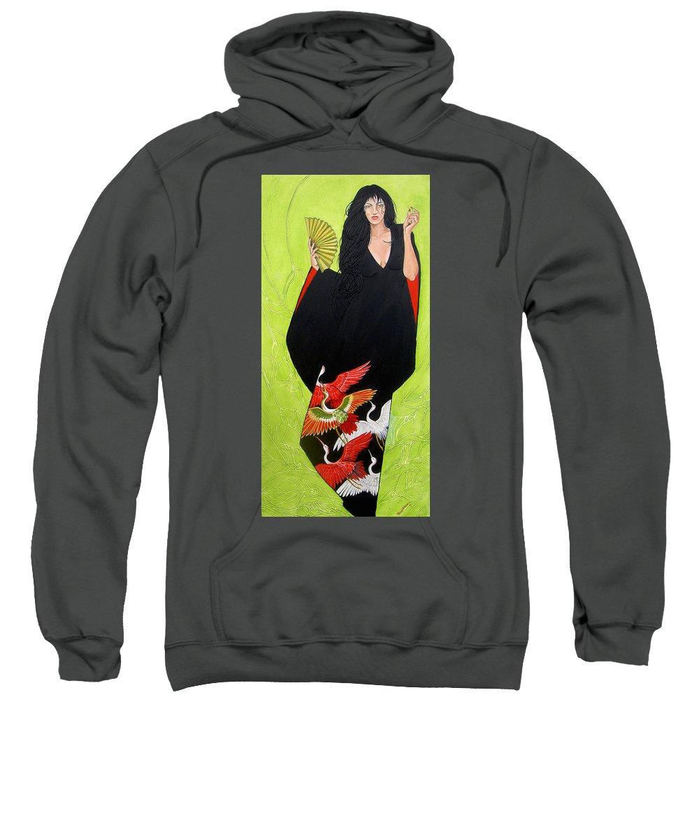 Kimono Sweatshirt featuring the painting In Her Kimono by Juan Alcantara
