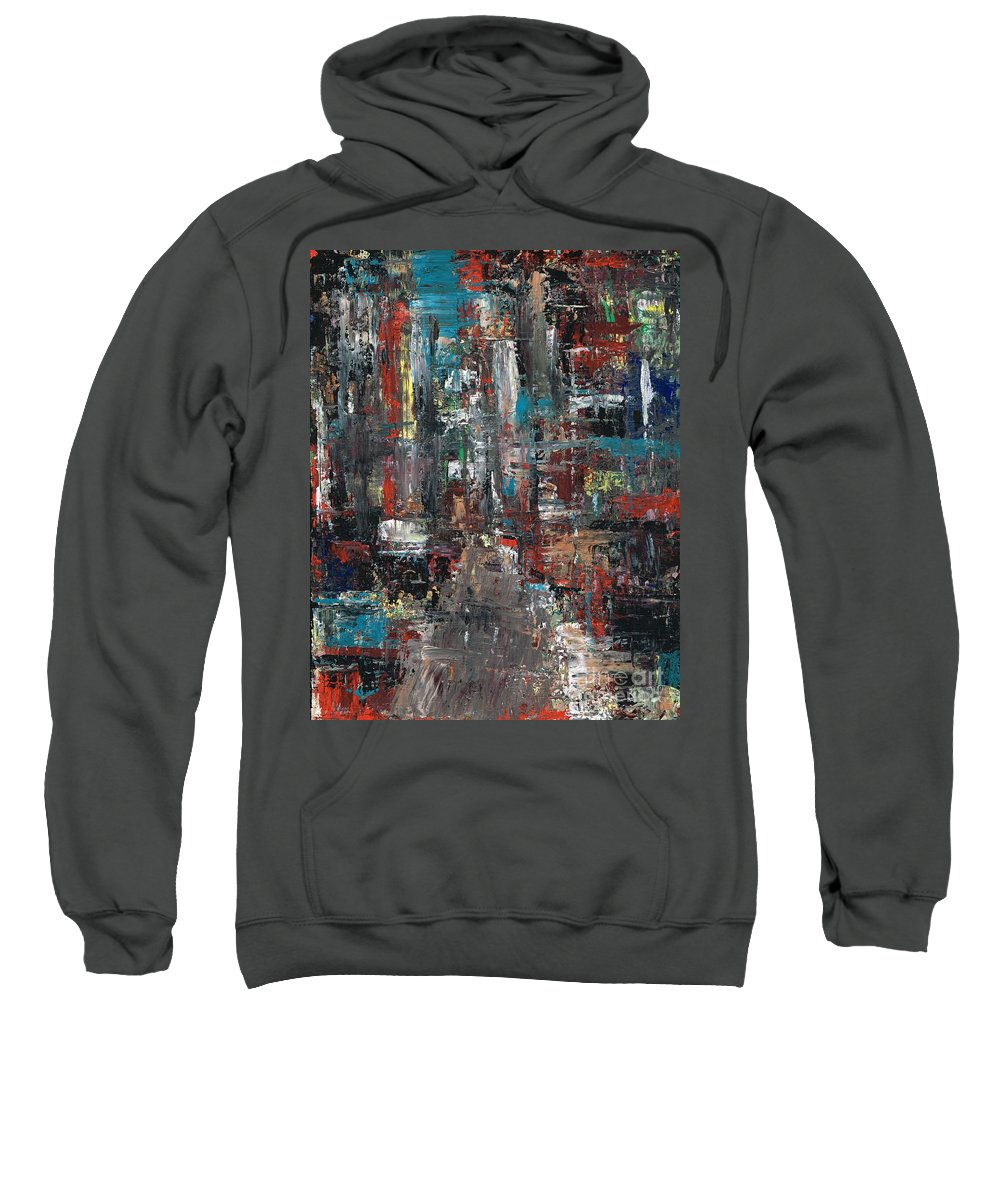 Cities Sweatshirt featuring the painting In The City by Frances Marino