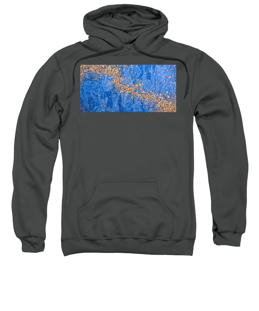Waterfall Sweatshirt featuring the painting In The Falls by Judy Henninger