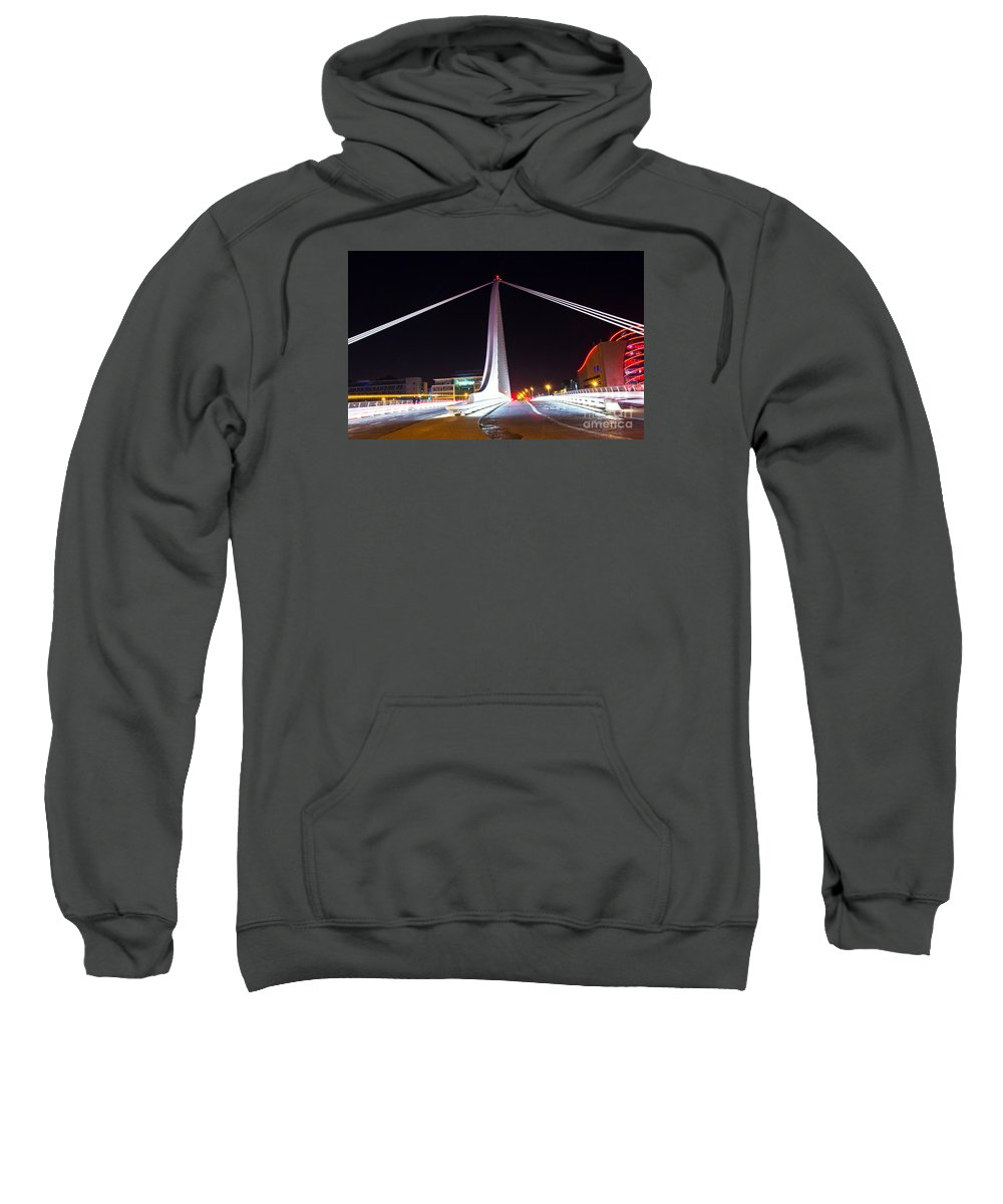 The Convention Centre Reflection Sweatshirt featuring the photograph In The Middle Of The Speed Danger by Alex Art and Photo