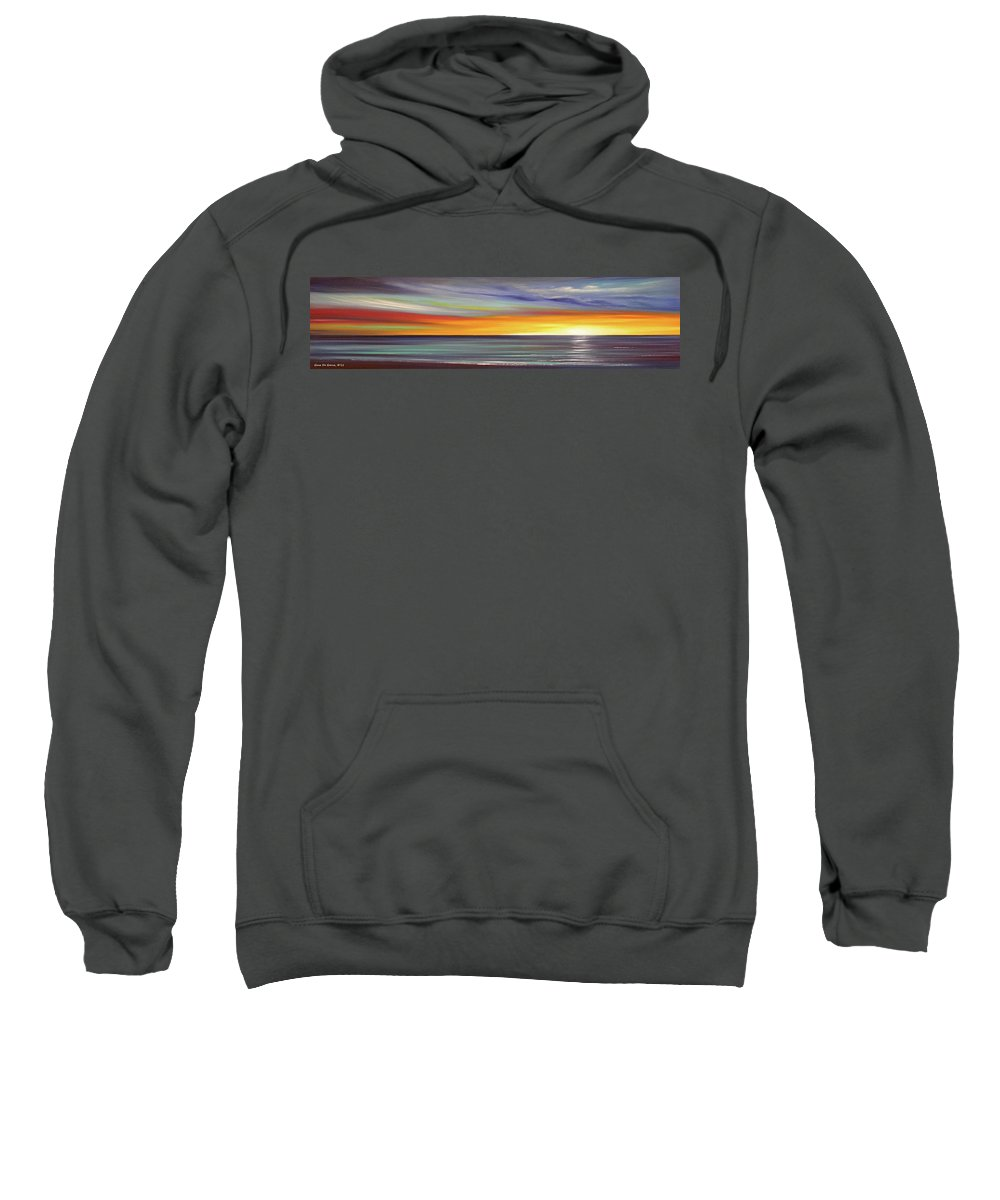 Sunset Sweatshirt featuring the painting In The Moment Panoramic Sunset by Gina De Gorna