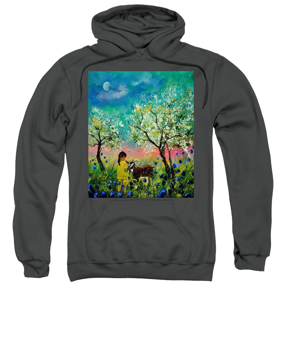 Landscape Sweatshirt featuring the painting In the orchard by Pol Ledent