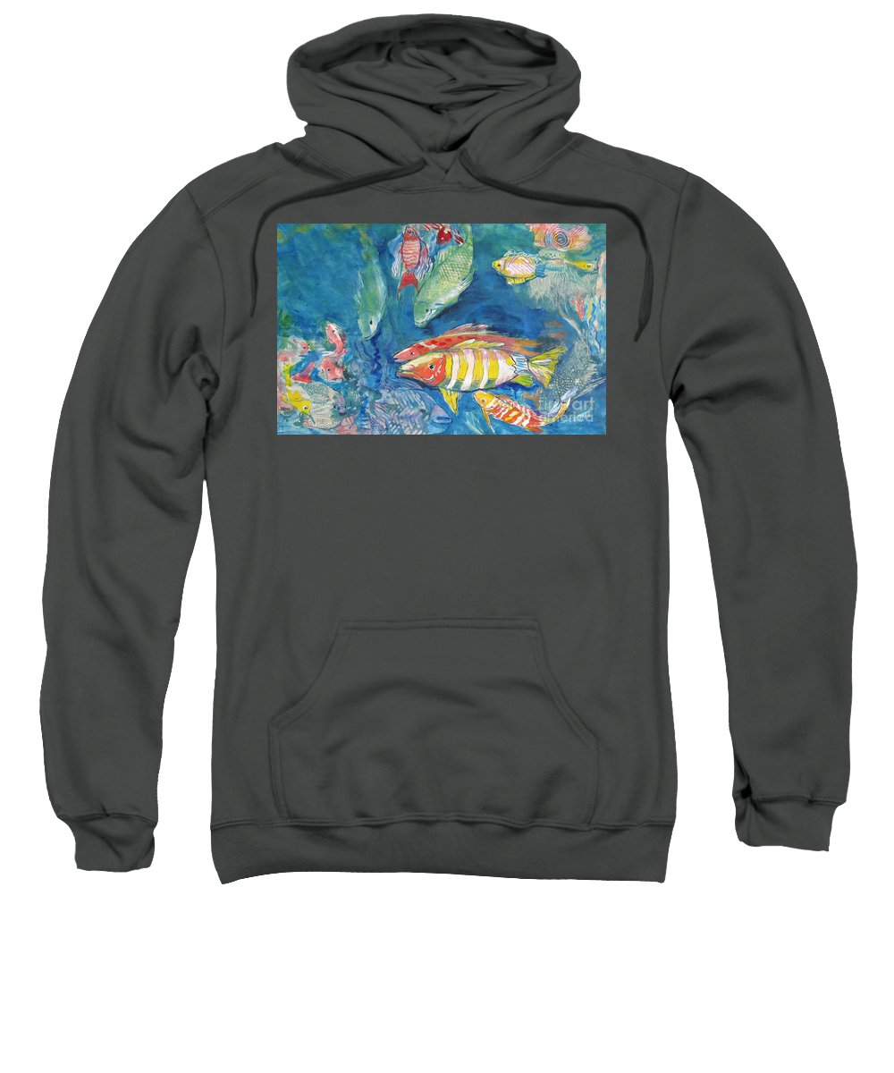 Water Sweatshirt featuring the painting In the Sea by Guanyu Shi