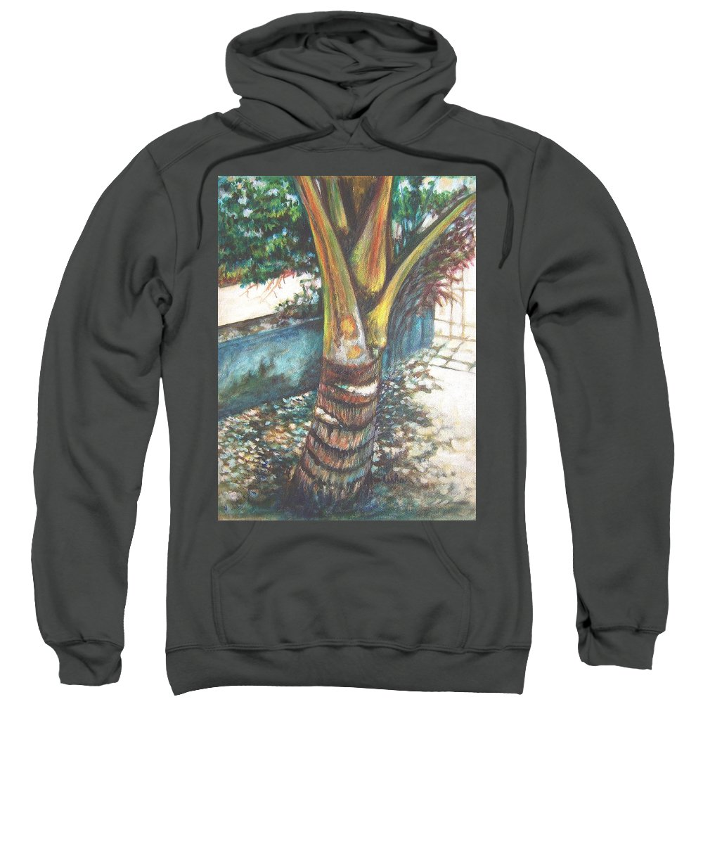 Shade Sweatshirt featuring the painting In The Shade by Usha Shantharam