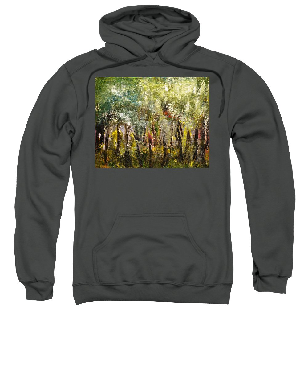 Trees Sweatshirt featuring the painting In The Woods by Evelina Popilian