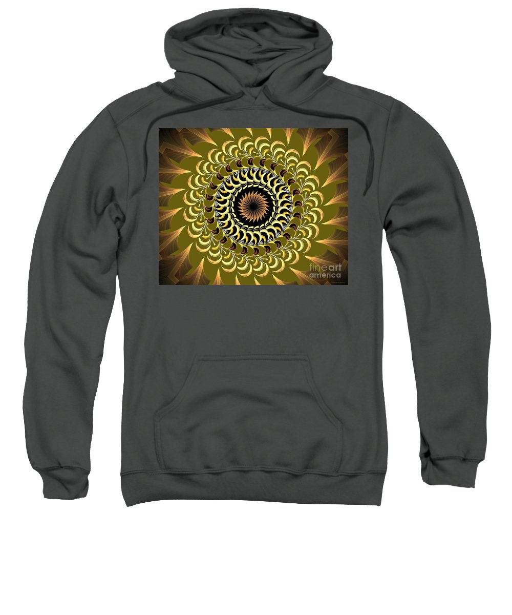 Incendia Sweatshirt featuring the digital art Incendia Kaleidoscope by Deborah Benoit