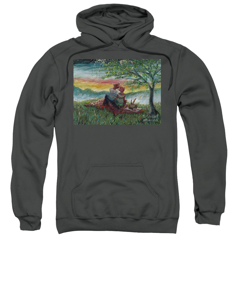 Landscape Sweatshirt featuring the painting Independance Day Pignic by Nadine Rippelmeyer