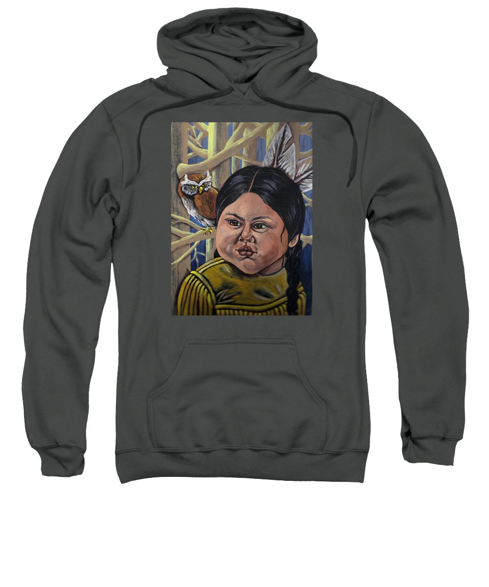 Indian Girl Sweatshirt featuring the painting Indian Girl In The Woods by Robin Cordero