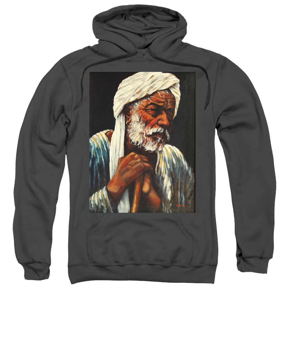India Sweatshirt featuring the painting Indian Man by Rick Nederlof
