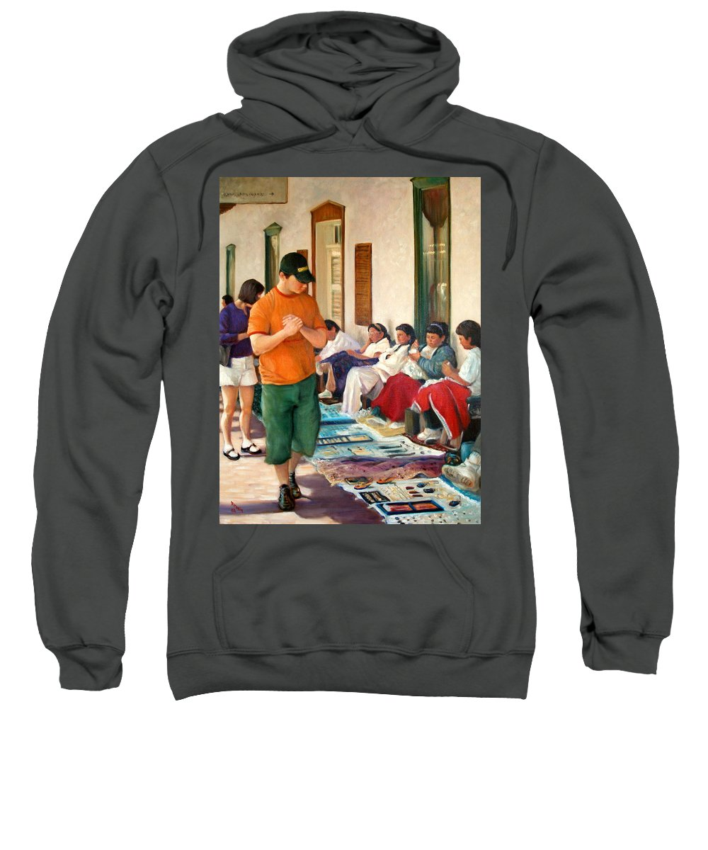 Realism Sweatshirt featuring the painting Indian Market by Donelli DiMaria
