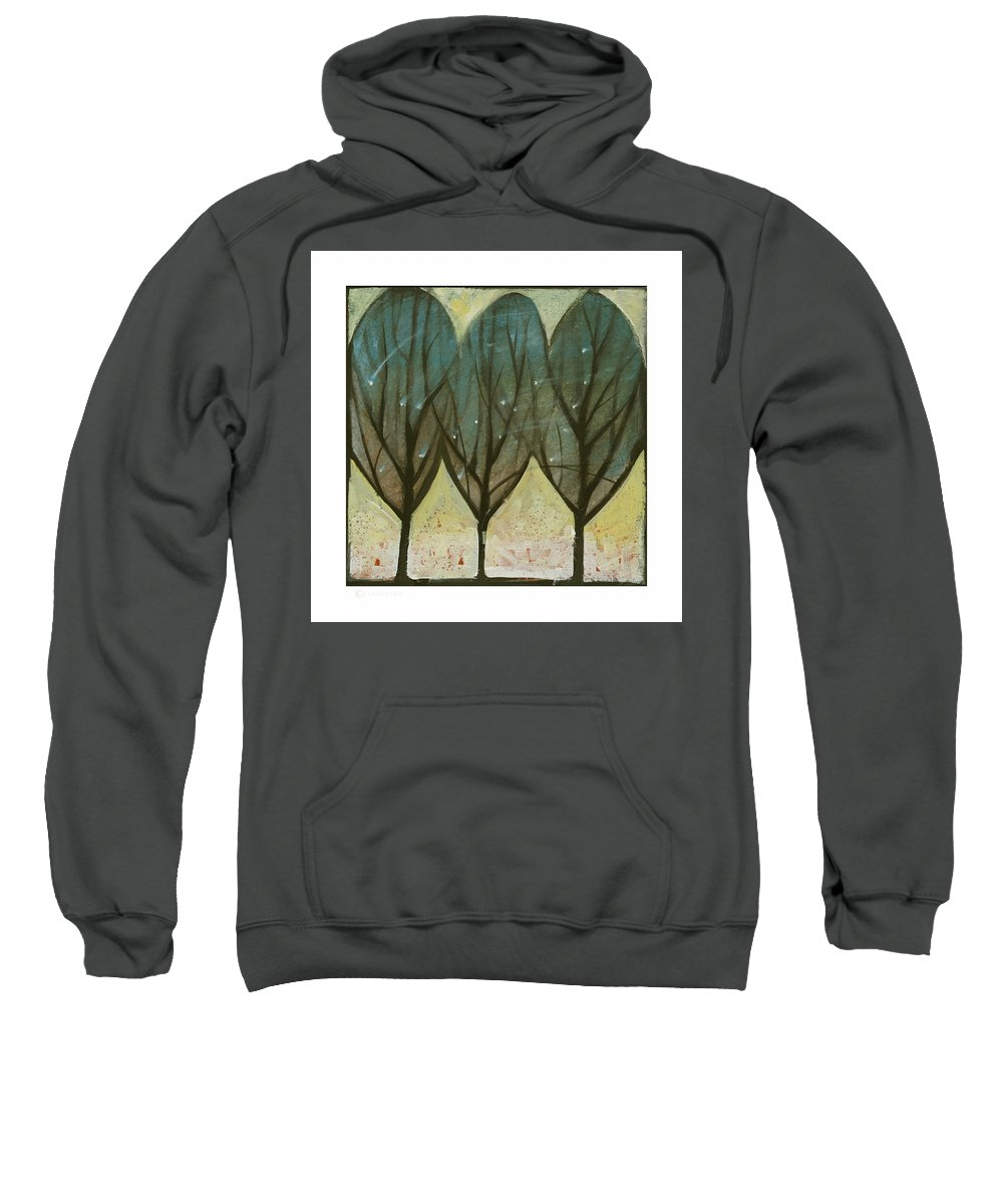 Trees Sweatshirt featuring the painting Indian Summer Snow by Tim Nyberg