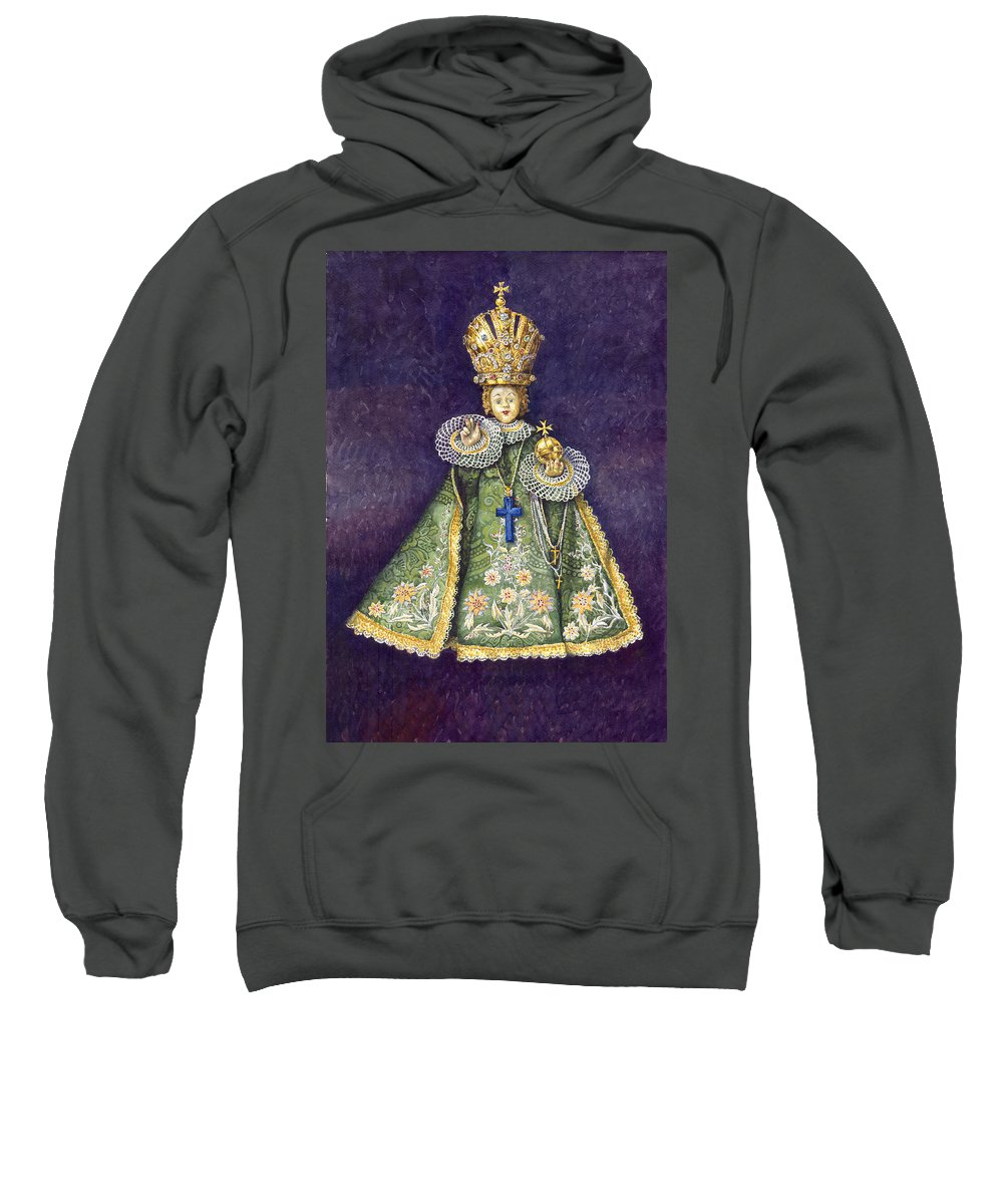 Watercolour Sweatshirt featuring the painting Infant Jesus Of Prague by Yuriy Shevchuk