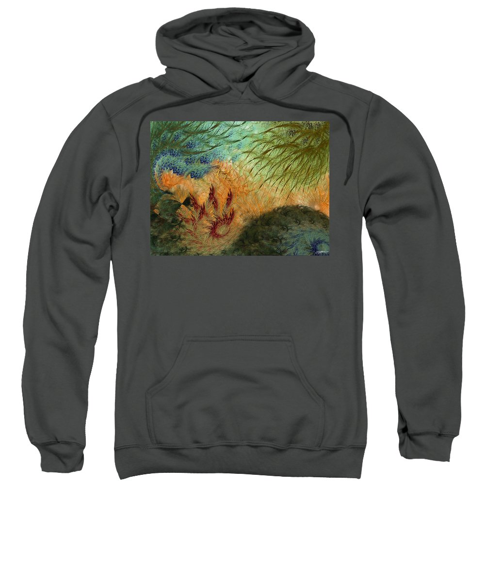 Abstract Sweatshirt featuring the digital art Inflammation by Casey Kotas