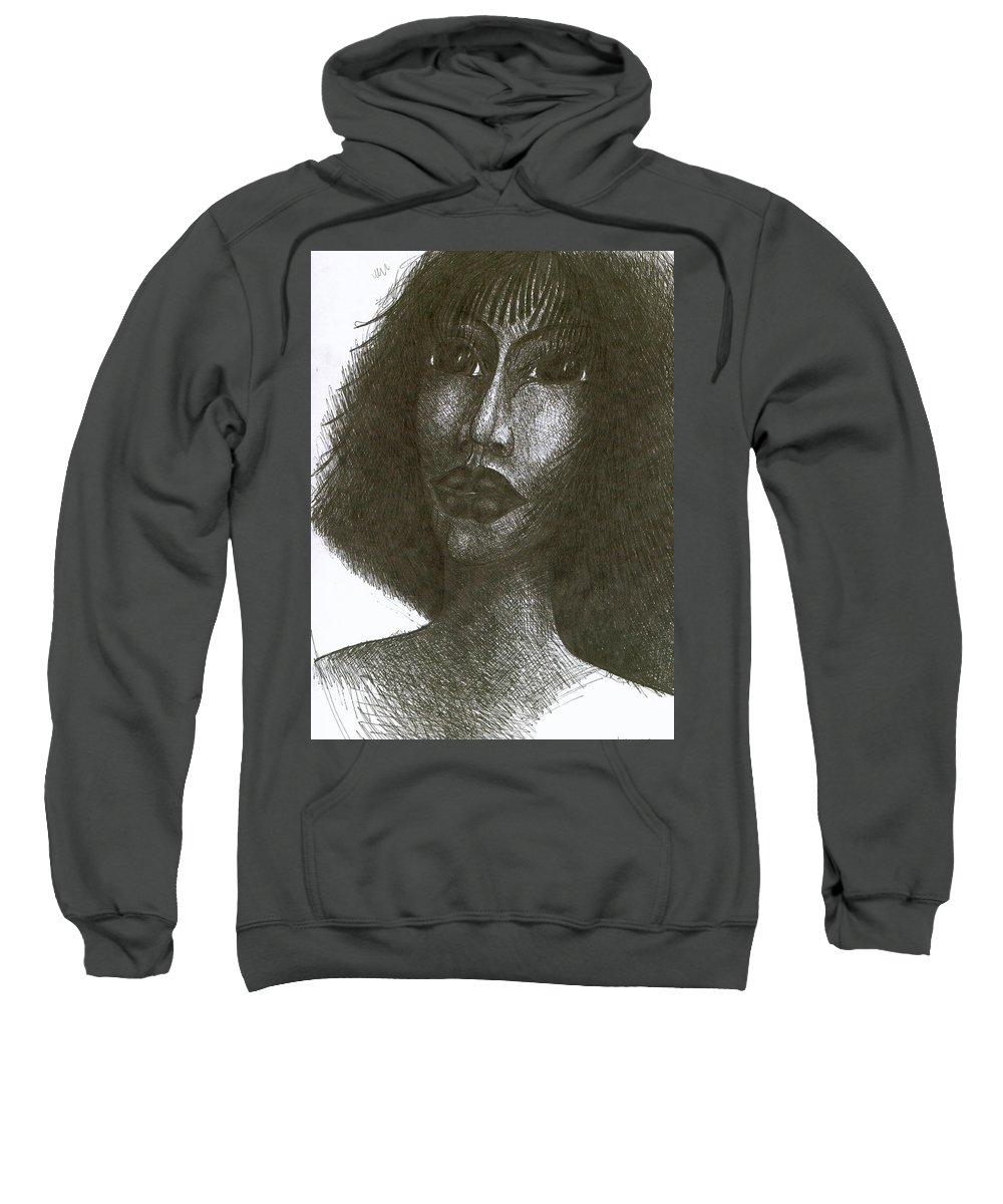 Naive Sweatshirt featuring the drawing Inka I by Wojtek Kowalski
