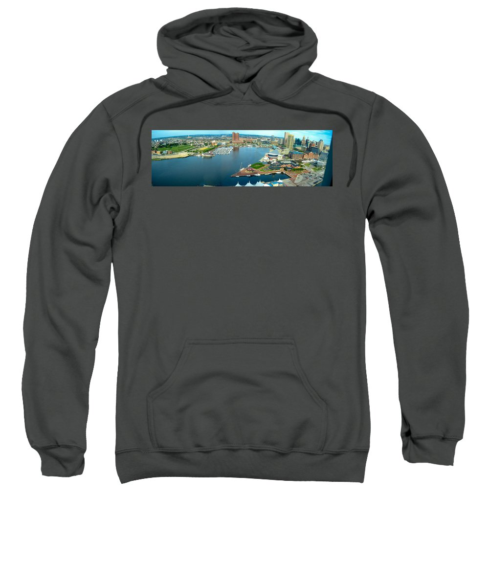 Baltimore Sweatshirt featuring the photograph Inner Harbor Baltimore Panorama by Thomas Marchessault