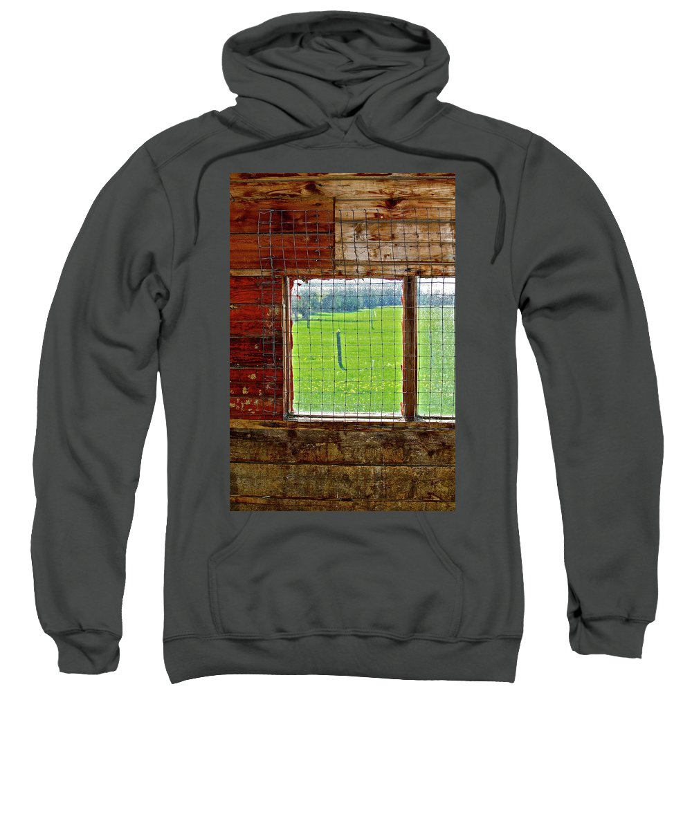 Barn Sweatshirt featuring the photograph Inside The Barn by Diana Hatcher