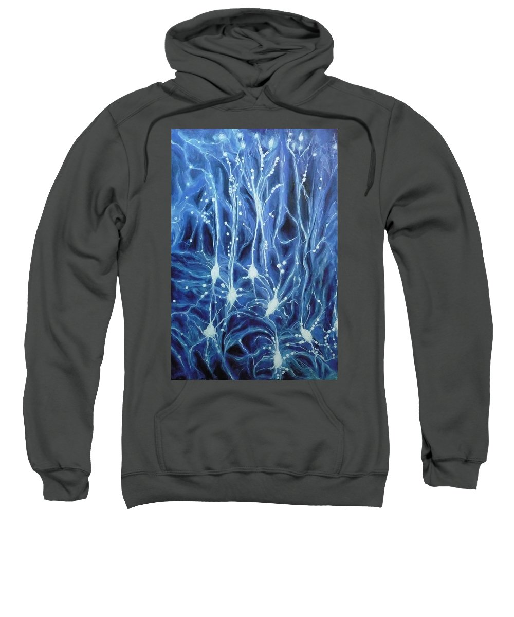Brain Cell Sweatshirt featuring the painting Inside The Brain by Ericka Herazo
