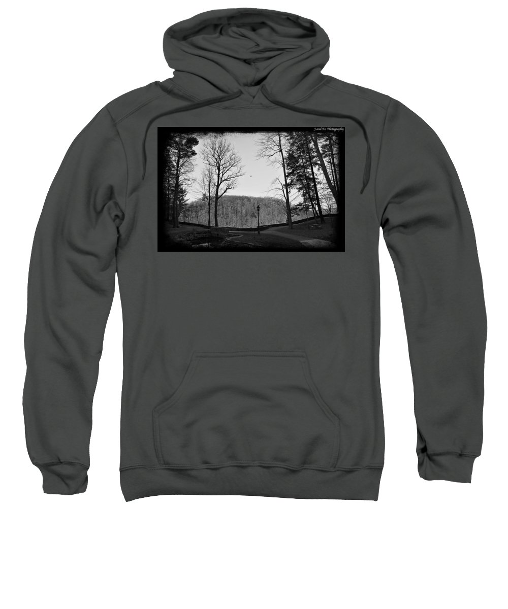 Inspiration Point Letchworth State Park New York Black White Sweatshirt featuring the photograph Inspiration Point by Justyn Ripley