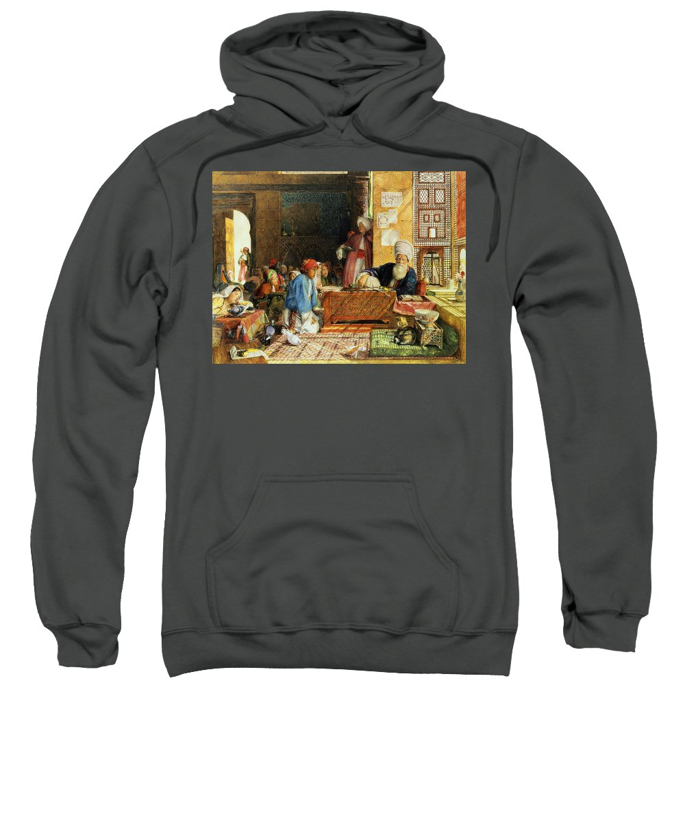 Orientalist; Dove; Classroom; Arab; Imam; Teacher; Pupil; Classroom; Student; Lattice Screen; Cat; Education Sweatshirt featuring the painting Interior Of A School - Cairo by John Frederick Lewis