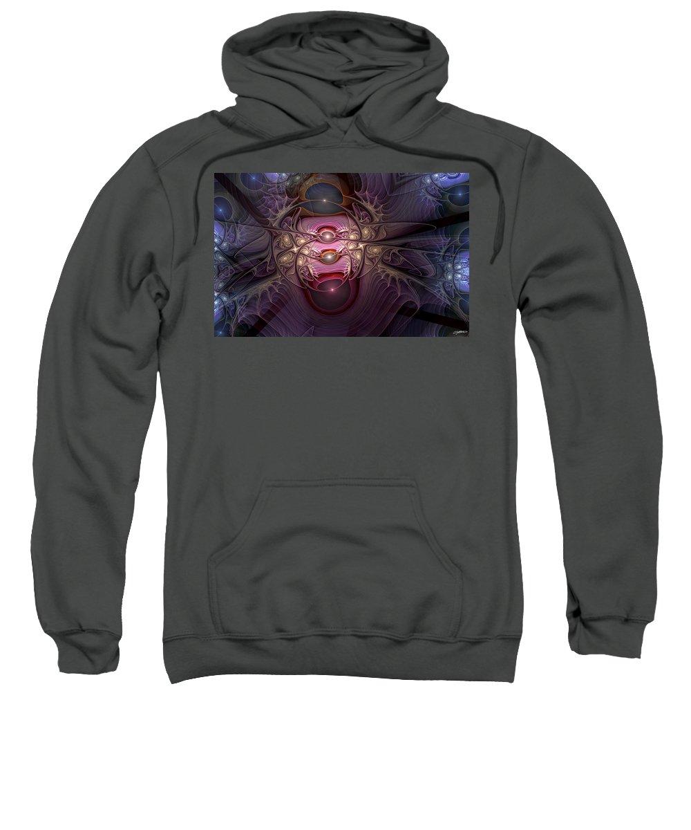 Abstract Sweatshirt featuring the digital art Internecine by Casey Kotas