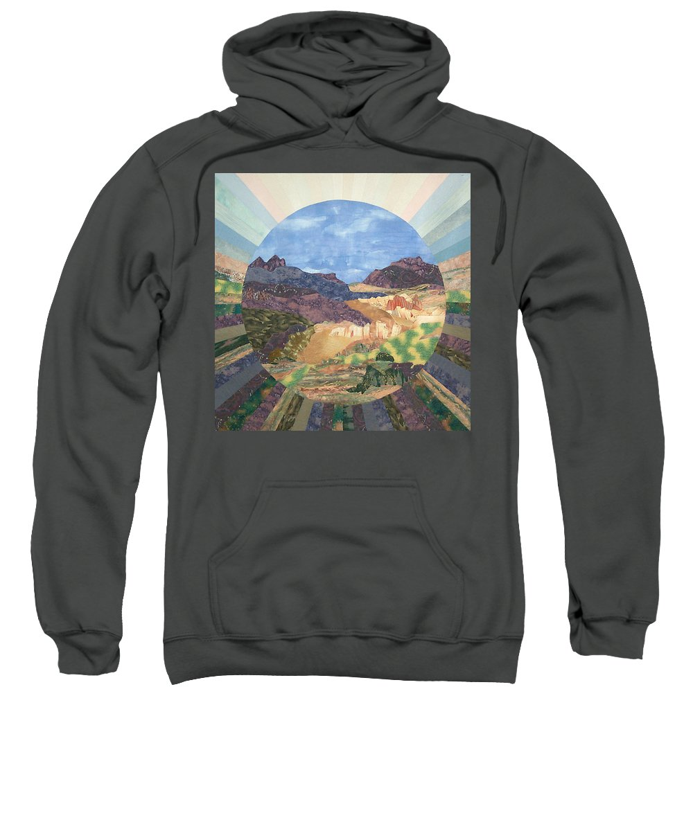 Quilt Sweatshirt featuring the tapestry - textile Into The Mystery by MtnWoman Silver