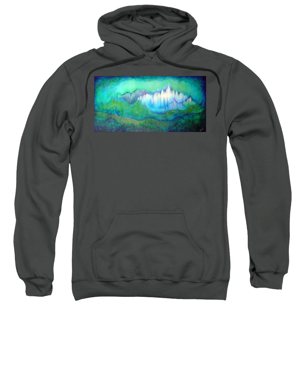 Blue Sweatshirt featuring the painting Into The Ocean by Shadia Derbyshire