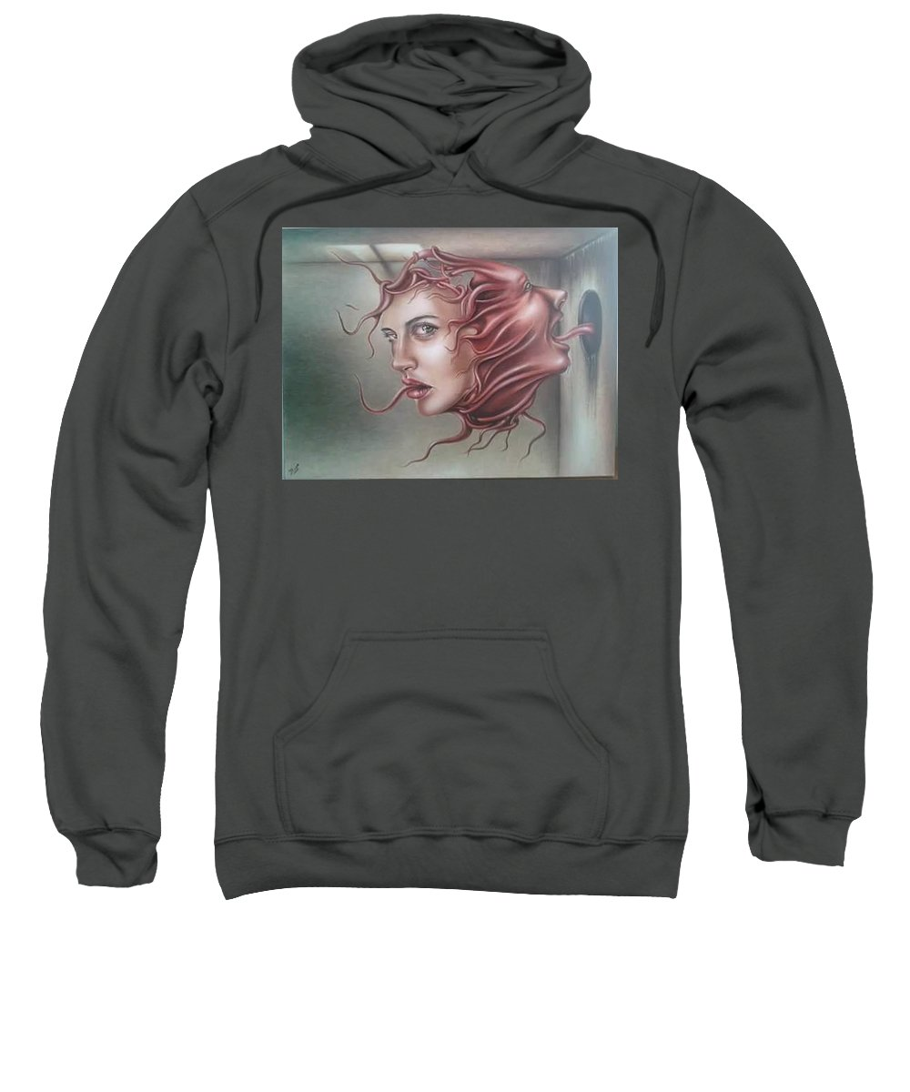Face Sweatshirt featuring the painting Intrussion by Dulce Luna
