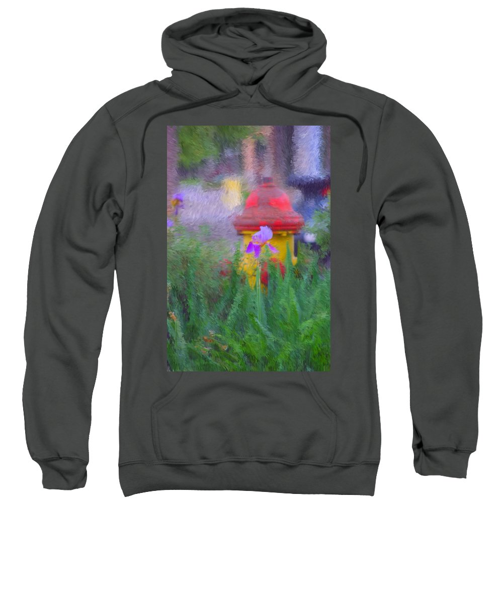 Digital Photo Sweatshirt featuring the photograph Iris And Fire Plug by David Lane