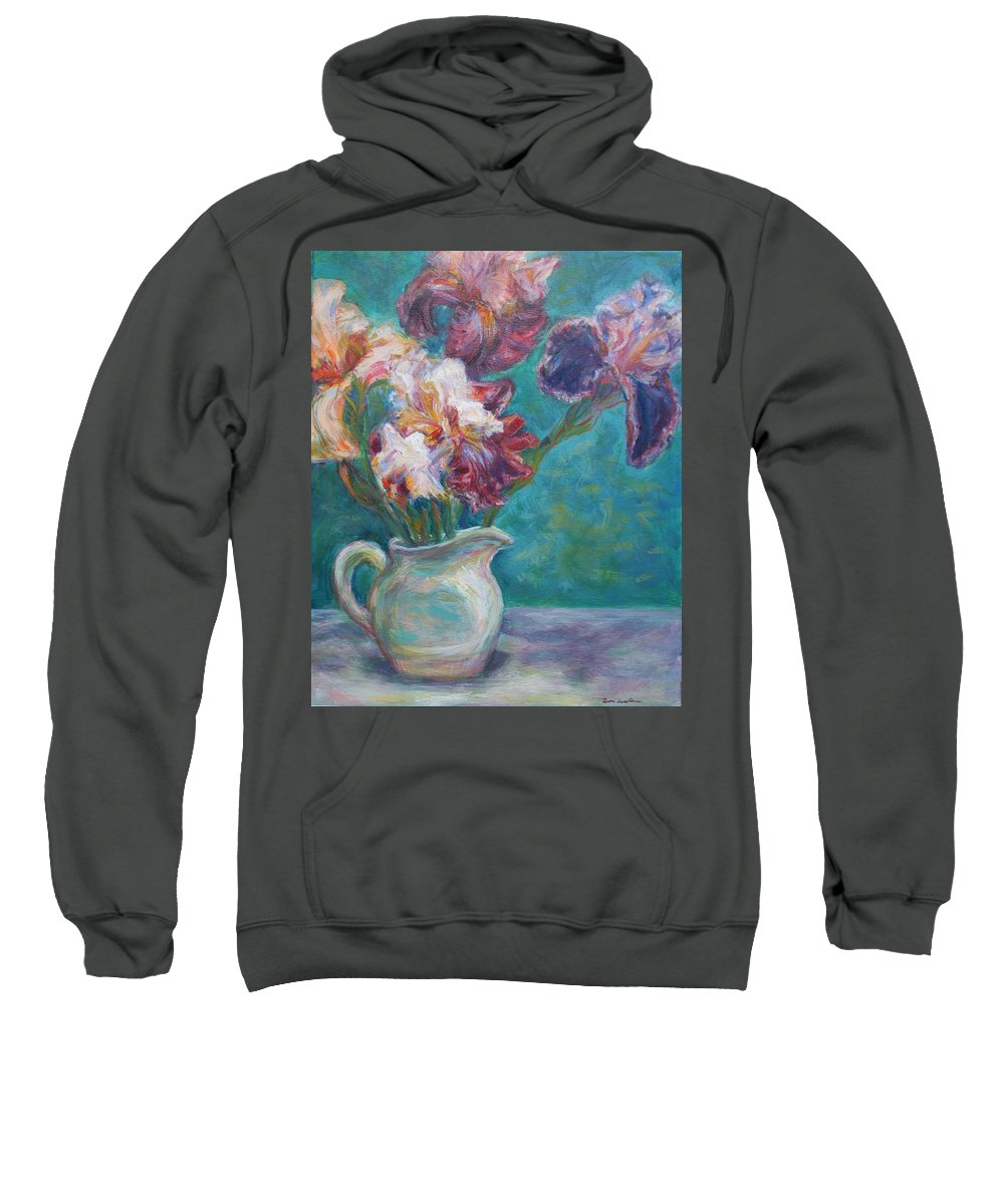 Impressionist Sweatshirt featuring the painting Iris Medley - Original Impressionist Painting by Quin Sweetman