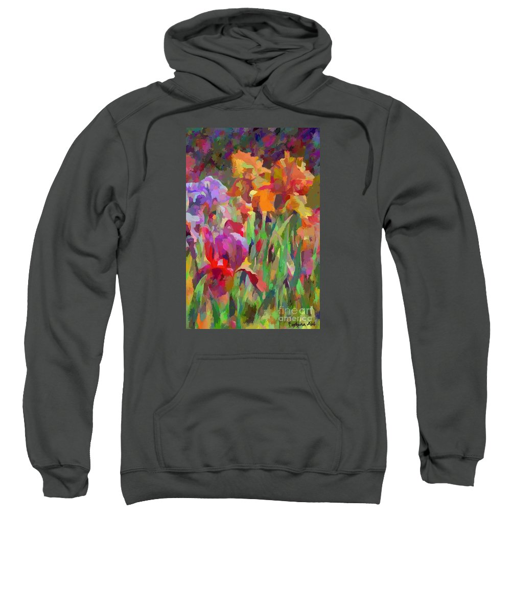 Abstract Art Sweatshirt featuring the painting Irises 1 by Dragica Micki Fortuna