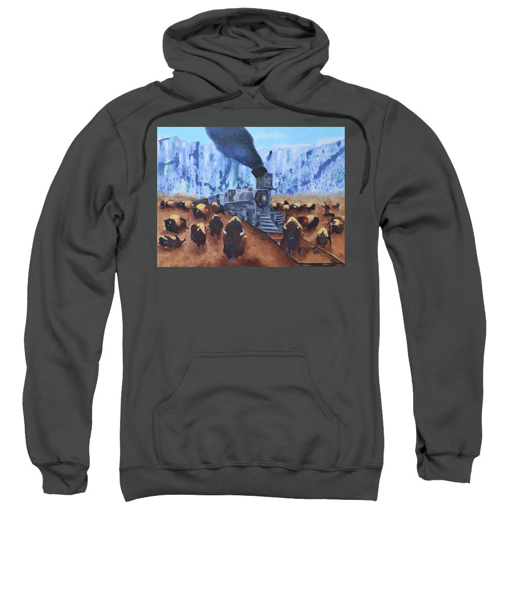 Oil On Canvas By Arturo Garcia Sweatshirt featuring the painting Iron Horse by Arturo Garcia