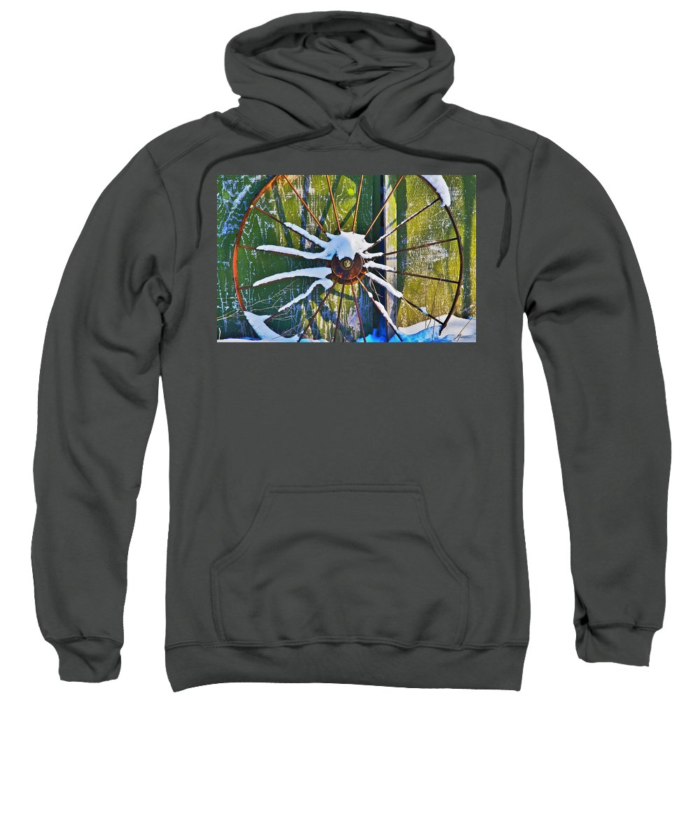 Iron Sweatshirt featuring the photograph Iron Wheel by Robert Pearson