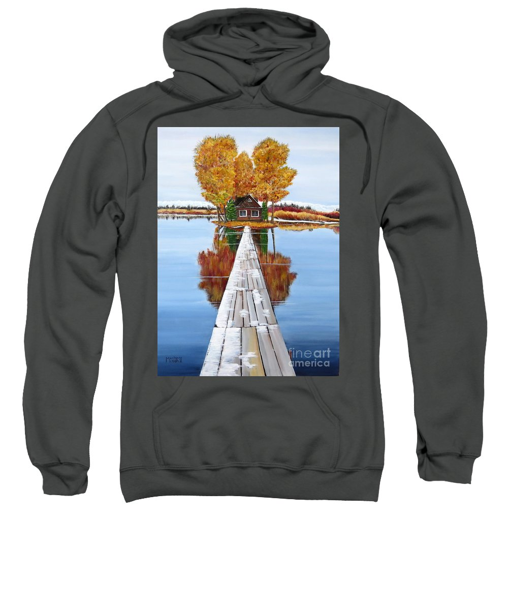 Remote Island Cabin Sweatshirt featuring the painting Island Cabin 2 by Marilyn McNish