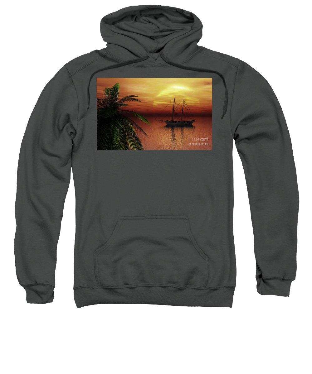Tropical Sweatshirt featuring the digital art Island Explorer by Richard Rizzo