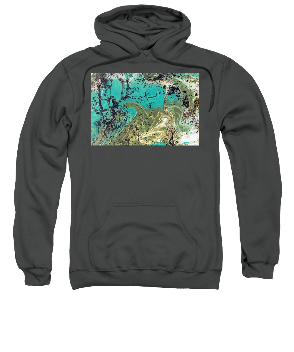 Island Sweatshirt featuring the painting Island Lagoon by Dawn Hough Sebaugh